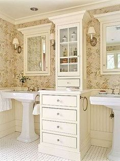 FRENCH COUNTRY COTTAGE: {Inspiration} Cottage Bathroom dreaming - love this unit between the sinks, but do not like pedestal sinks - need a solid counter top! Cottage Style Bathrooms, Dream Bathrooms, Beautiful Bathrooms, Chic Bathrooms, Rustic Bathrooms, Bathroom Renos, Small Bathroom, Bathroom Remodeling, Bathroom Canvas