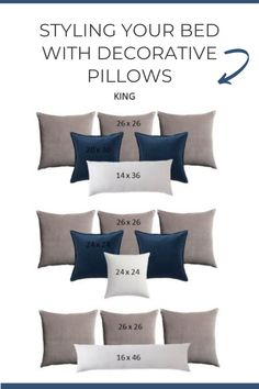 There is an art form when it comes to styling your bed with decorative pillows. Too few pillows will leave your bed feeling bare, and too many will lead to confusion. Balance is found when pairing the right size pillows and the correct quantity for your bed. Fear not, I have compiled my favorite pillow pairings creating an easy styling guide. Down Pillows, Bed Pillows, Pillow Inserts, Pillow Covers, Perfect Pillow, Pattern Mixing, Confusion, Mixing Prints, Decorating Blogs