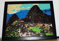 "Machu Picchu Perler Bead Picture Art with Frame. This is a one-of-a-kind handmade perler bead rendition of Machu Picchu in Peru. Each of the nearly 5200 individual beads were hand placed and fused together by use of a household iron. The dimensions are 12"" x 16"". By SandCbeadworks, on Etsy"
