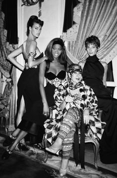 LInda Evangelista, Naomi Campbell, Anna Piaggi and Christy Turlington at Versace Couture at the Ritz, Paris.