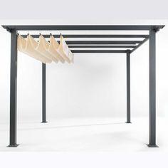 Design-Pergola, pulverbeschichtetes Aluminium, Dach: 100% Polyester Vorderansicht
