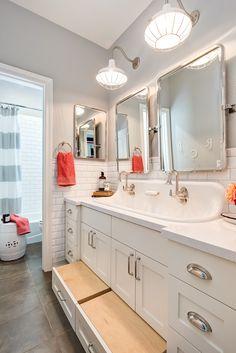 Shared Boys Cottage Bathroom with Kohler Brockway Sink and Kohler Cannock Faucet Bathroom Kids, Bathroom Renos, Kids Bath, Small Bathroom, Shared Bathroom, Trough Sink Bathroom, Sinks, Kids Sink, Bathroom Cabinets