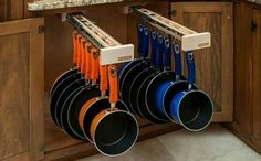 The Glideware Pan Organizer is the best way to hang and organize pots and pans while keeping them within arms reach for easy access when you need them.