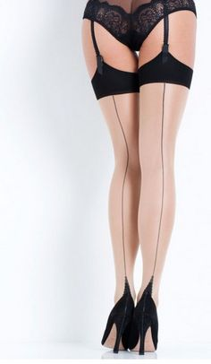 ee5a5dcb85584 L'Agent by Agent Provocateur Seam & Heel Stockings M Nude/Black*