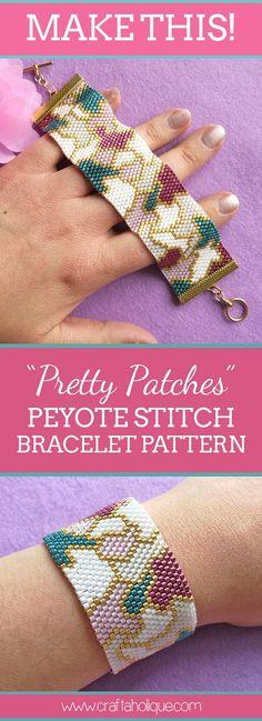 "Peyote Stitch Bracelet Pattern – ""Pretty Patches"" – Teal, Pink, Gold & White – Even Count Peyote with Miyuki Delicas Peyote-Stich-Armband-Muster-hübsche Flecken Bead Loom Bracelets, Peyote Beading, Beaded Bracelet Patterns, Peyote Patterns, Loom Patterns, Beading Patterns, Beaded Cuff Bracelet, Beading Tutorials, Diy Jewelry"