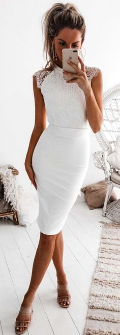 #winter #outfits white sleeveless bodycon dress