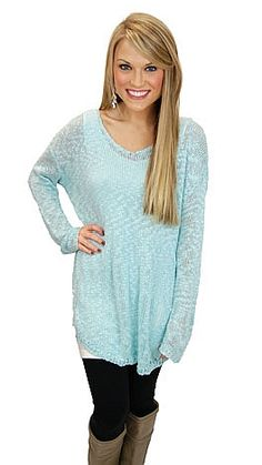 The Blue Door Boutique is your one-stop-shop for cute dresses, affordable tops, and boutique clothing. Shirts For Leggings, Black Leggings, Long Sweaters, Blue Sweaters, Winter Style, Autumn Winter Fashion, Ice Blue Color, Fall Outfits, Cute Outfits