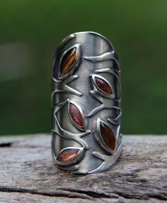 Ring | SpiralStone Designs. Tiger eye, sunstone and sterling silver