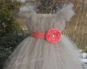 Silver Grey Flower Girl Tutu Dress with Coral Flower Sash and Sleeves  Great Party Dress, Birthday, Formal Occasions Other Colors Available