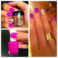 my new Essie gold glitter nails