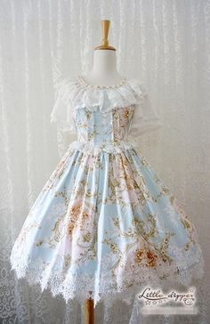 ---> Little Dipper™ ✿~Victorian Rose~✿ Classic Lolita OP Dress ---> Size XXL available, suitable for plus-sized Lolitas :) ---> Learn more: http://www.my-lolita-dress.com/little-dipper-victorian-rose-classic-lolita-op-dress-ld-47