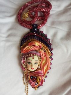 Bead embroidery and Shibori Silk Ribbon Pendant with Beaded Necklace