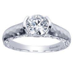Gabriel & Co. ER9058 Flush Set Hammered Engagement Ring: Engagement Rings   Wedding Bands   Custom Jewelry   Diamonds