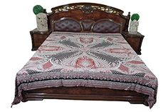 item - Kantha Quilt Blanket Is Made Of High Quality Construction. Indian Bedding, Boho Bedding, Moroccan Bedding, Tapestry Bedding, Bohemian Bedspread, Luxury Bedding, King Size Bed Throws, Gypsy Home Decor, Bohemian Decor