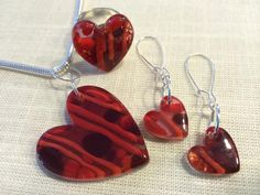 Handmade, fused glass jewelry by Miss Olivia's Line.  Hearts - Valentine's Day -  Love - Red - I love you!  Additional items posted at https://www.facebook.com/MissOliviasLine