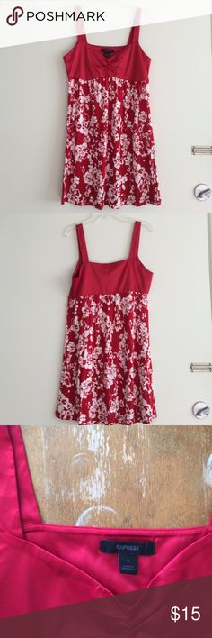 """Express summer minidress Satiny bust and straps wide enough to cover bra straps! Comfy cute floral skirt. 20"""" from center bust to hem. If it's too short to be a dress on you, can work as a long tank! Express Dresses Mini"""
