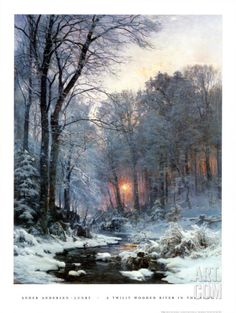 Twilit Wooded River in the Snow Poster by Anders Andersen-Lundby Winter Landscape, Landscape Art, Landscape Paintings, Winter Painting, Winter Art, Winter Snow, Snow Art, Winter Scenery, Winter Sunset