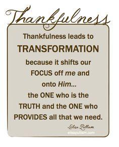 Pursuing Transformation Through Thankfulness {Free Download}