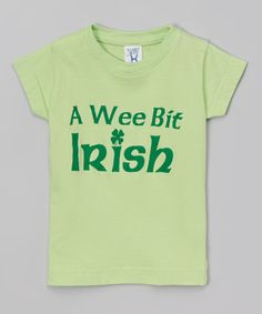 Look at this Peanuts & Monkeys Key Lime 'A Wee Bit Irish' Tee - Infant, Toddler & Girls on #zulily today!