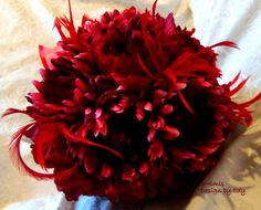 Red Feather  Wedding Bouquet Rhinestone Hearts Shabby by 3Mimis, $109.00