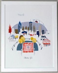 Take a look at this Atlanta City Print by albie designs on today! Atlanta City, Mountain City, Stone Mountain, Georgia Wedding Venues, Poster Prints, Art Prints, Art Posters, Georgia On My Mind, Illustrations