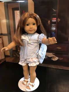 """sky blue shorts and top, white eyelet, baby doll top, blue handbag, white sandals, 18"""" doll clothes, American Girl doll clothes, necklace by MorgansCloset16 on Etsy"""