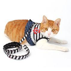 Sailor Stripe Pet Cat Harness Vest Leashes Suit  Pet harness Pet Puppy Cat Harness Leashes for small cat pet XS S M L XL