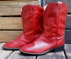 LAREDO Cowgirl Red Leather Western Roper Cowboy Boots Women's Size 5.5M #Laredo #CowboyWestern #Casual