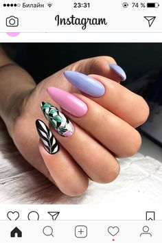 Total Summer Nail Hot Trend 90's VIBE + Modern Trend...Pink & Blue Pastel with Gorgeous Palm Tree 🌴 NailArt💅😍