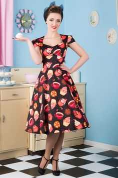 Brand New to Lady V London, the Victory Swing Dress features full 1950s style flared skirt, a...