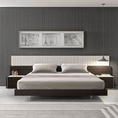 Modern Queen Natural Light Grey Lacquer LED Headboard Platform  Bed ZJMNPORTO