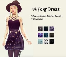 Sims 3, Sims 4 Mm Cc, Witchy Dress, Witchy Outfit, Sims 4 Mods Clothes, Sims 4 Clothing, Vêtement Harris Tweed, Los Sims 4 Mods, Sims 4 Anime