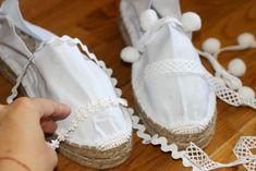 DIY: Platform espadrilles - SUGAR LANE Boho Shoes, Shoes Sandals, Winter Baby Clothes, Espadrille Sneakers, Diy Fashion, Designer Shoes, Creations, Platform, Couture