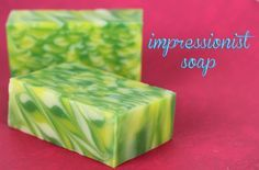 #soapmaking I love this Impressionist Soap tutorial. I made mine with Lovespell type fragrance oil and purple, pink, green, and brown soap :o)