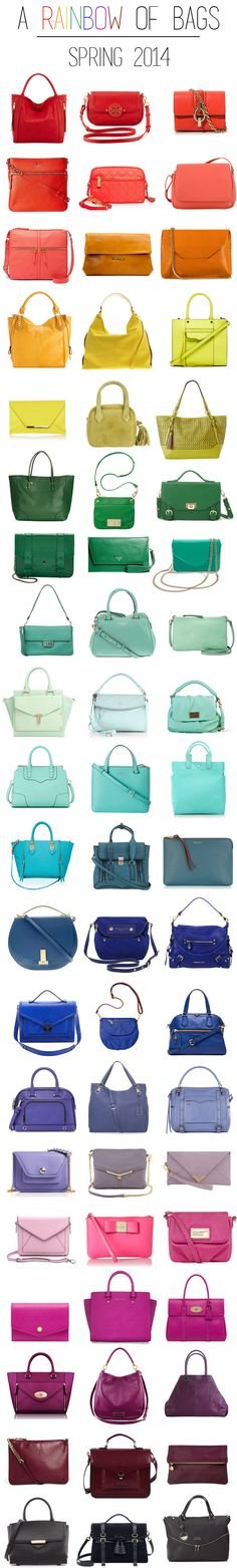 Rainbow of Bags - colorful bags for spring!