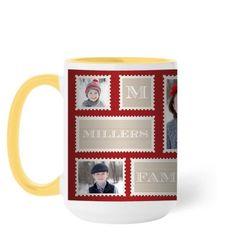 Love Family Stamps Mug, Yellow, 15 oz, Red