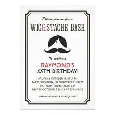 Retro stripes wig and mustache bash birthday party personalized invitation