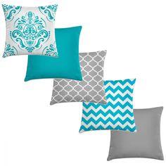 combinação de almofadas azul e cinza Teal Throw Pillows, Diy Pillows, Decorative Pillows, Room Color Schemes, Room Colors, Blue And Yellow Living Room, Floral Bedspread, Industrial Home Design, Seat Covers For Chairs
