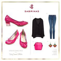 Sabrinas SANGHAY CHAROL FRESA rosas con lazo en puntera puntera y tacón cuadrado.    The pink SANGHAY CHAROL FRESA Sabrinas. #Sabrinas #Pink #Trends #MadeInSpain #Ballerinas #Shoes #TotalLook