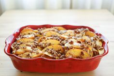 Peaches and Cream French Toast Casserole with Praline Topping recipe by Barefeet In The Kitchen