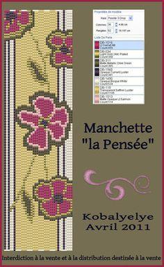 Manchette_fleurie_rouge_et_marron KOBALYELYE