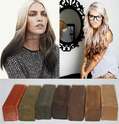 Reverse Ombre, Natural Hair Chalk, Hair Tint, Hair Stain, Ombre Hair, Rainbow Hair, Festival, DIY Temporary hair color, Reverse Ombre Hair