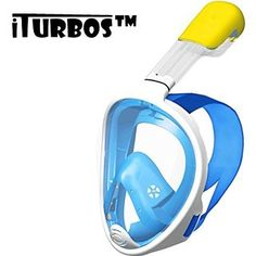 iTurboS™ Masque Snorkel pour la plongée Anti Fog vue à 180 degrés Panorama Vision lunettes avec masque intégré tuba de plongée masque complet