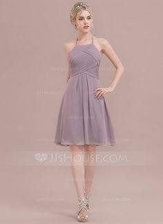 A-Line/Princess Scoop Neck Knee-Length Ruffle Zipper Up Spaghetti Straps Sleeveless No Dusk Spring Summer Fall Winter General Plus Chiffon Bridesmaid Dress