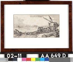 Afbeeldinge van de Brugghe midtsgaders het over brengen van dien over de uytstroomende Niers - Onbekend - 1641  Maat: 13cm x 25cm  Materiaal: drukinkt op papier  Inventarisnummer: AA649-D