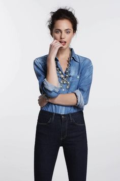 Anthropologie: jeans & jean shirt with a statement necklace Double Denim, Fashion Forward, Ideias Fashion, Style Me, Anthropologie, Summer Outfits, Street Style, Style Inspiration, Clothes For Women