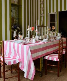 Striped Table, Striped Linen, Linen Tablecloth, Table Linens, Joy And Happiness, Pink Stripes, Natural Texture, Cool Patterns, Tea Towels