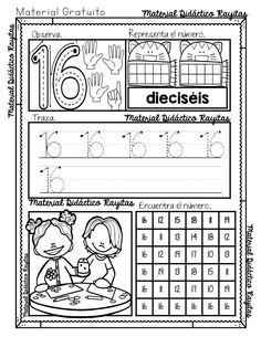 Fichas de Trazo,Conteo y Atención con Números – Imagenes Educativas Numbers Kindergarten, Numbers Preschool, Homeschool Kindergarten, Math Numbers, Learning Time, Learning Arabic, Math For Kids, Activities For Kids, Learn Arabic Alphabet
