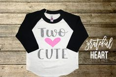 Two year old Birthday Shirt Two cute by Gratefulheartapparel