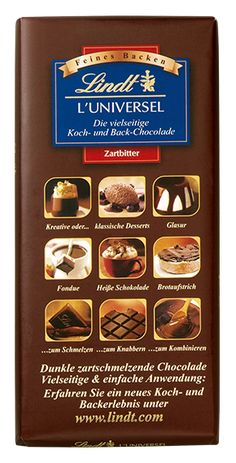 Lindt: L'Universel, Koch- und Back-Chocolade, Lindt, Chocolate World, Dessert, Vegan, Breakfast, Recipes, Food, Cocoa Butter, Almonds